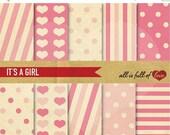 80% off Pink Paper Valentines Background Patterns Digital Scrapbook Kit Diamonds Stripes Hearts Polka Dots Valentines Digital Paper 12/15