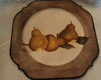 Still life painting of three pears on wooden plate/ folk art/ handmade/ hand painted/ yellow and green
