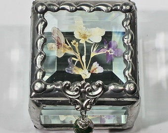Wildflower, Treasure Box, Colorado, Flower, Pressed Flower, Keepsake, Display , Stained Glass, Butterfly, Display Box