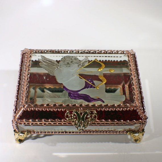 Cupid, Glass Jewelry Box, Faberge Style, Valentine, Stained Glass, Keepsake Box