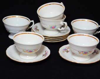 Pink Rose Tea Cup, Set of Six,  Wawel Royal Vienna White Tea/Coffee Cups with Saucers, Made in Poland, Tea Party, Set of 6