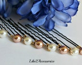 Bridal Hair Pins, Bridesmaid Hair Clip, Wedding Hair Clip, Bridal Hair Piece, Ivory Rose Gold Hair Pins, Prom Hair Do, Swarovski Pearls Pin