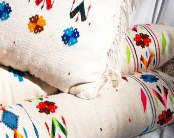 Vintage Large Mexican Wool Blanket Body Pillow