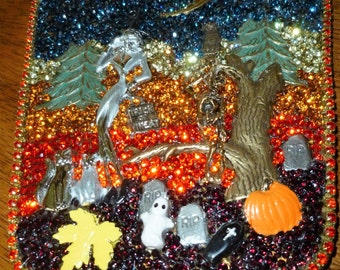 Vintage Hand Mirror - crystal decorated - Happy Halloween/witch/moon/haunted