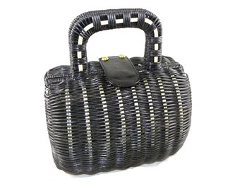 Tiny picnic basket handbag - navy blue caning with covered handles and leather and brass trim, purse, tote