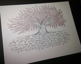 Personalized Family Tree- Custom 11x14 Pen & Ink Tree
