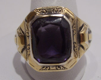 Gold, Sterling and Amethyst Ring Size 8 1/2