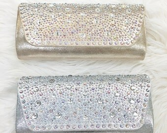 Set of 6 clutches in Silver and Gold, gift for bridesmaids, wedding party, wedding accessories, bridal accessories