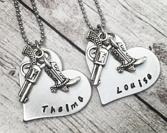Thelma and Louise Necklaces - Best Friend Gift - Best Friend Necklaces - Matching Necklaces - Gun Necklace