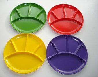 Vintage Appetizer Plates - Set of Four Divided Snack Dishes  - Retro Kitchen Servingware - 1970's Japan