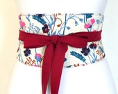 """Reversible Obi Belt """"Aiko"""", waist-clancher """"Haruko"""" white, flowers, poppy, red back by Lorella Créations"""