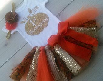 Gold and Fall First Thanksgiving Tutu Set , Gold Glitter Baby Girl Tutu Thanksgiving Set, Pumpkin Tutu