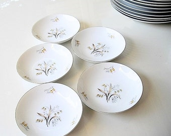Vintage Meito China Dessert Bowls Lily of The Valley, fine Asian china sauce bowls, platinum rims Japan plates, replacement china