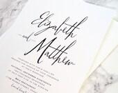 FLAT SAMPLE | Brushstroke Invitation | Wedding Invitation | Large Names Invitation | Simple Invitation | Modern Calligraphy Invitation