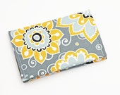 Card Holder, Cute Mini Wallet, Floral Business Card Case, Gift Card Purse, Small Women's Wallet - white yellow flowers in gray