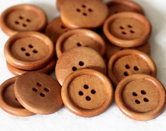 "25 Light Rusty Brown Wooden Buttons -  4 Holes -  Round Sewing Wood Buttons 25mm (1"")"