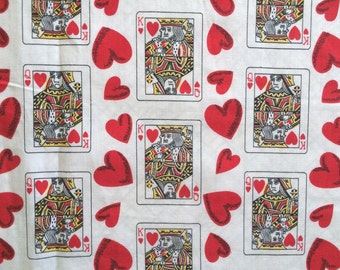 Queen of Hearts 50s Vintage Fabric King and Queen of Hearts from the Deck of Cards Mid Century Cotton 2 Yards + of Amazing Cute Bright Fun