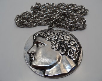 """SWANK Chunky Roman Coin Silver Tone Medallion 30"""" Long Statement Necklace"""