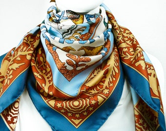 Authentic Vintage Hermes Silk Scarf Early America with Hermes Box UNWORN