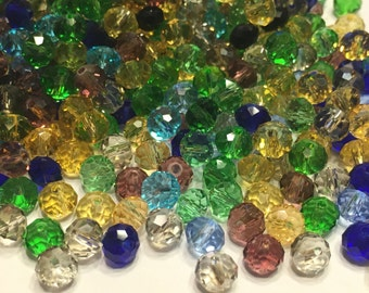 50 piece assorted Crystal bead mix, 4 x 6 mm (K5)