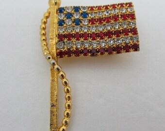 ON SALE Rhinestone American Flag Pin Item K # 1365