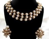 Biggest Sale Ever Trifari Necklace Earring White and Gold Triple Layer Pre Copywrite
