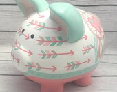 Personalized Piggy Bank, Boho Chic Arrows and Dreamcatcher Piggy bank in Coral, mint, gold~ Artisan, hand painted ceramic money bank