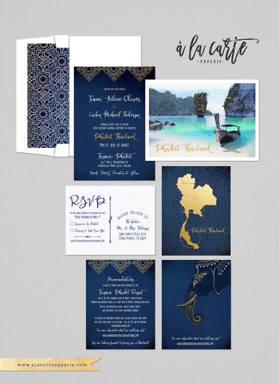Destination wedding invitation thailand phuket asia thai like this item junglespirit Gallery