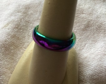 Vintage Metallic Colored Band Ring, Size 8