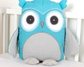 Owl, Teal Owl Pillow, Personalized Baby Owl Pillow, Stuffed  Custom Owl Pillow, Monogram  Baby Pillow