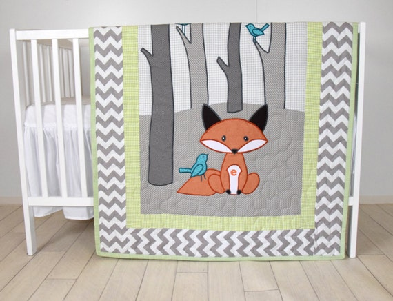 Woodland blanket, Birch tree crib quilt, Personalized fox crib bedding, Personalized baby blanket, gray chevron and lime