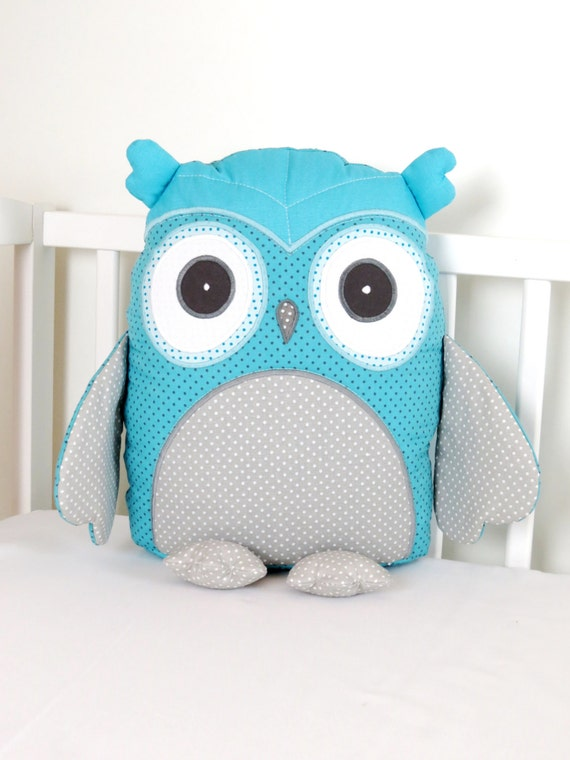 Owl, Teal Owl Pillow, Personalized Baby Owl Pillow, Stuffed  Custom Owl Pillow, Monogram  Baby Pillow