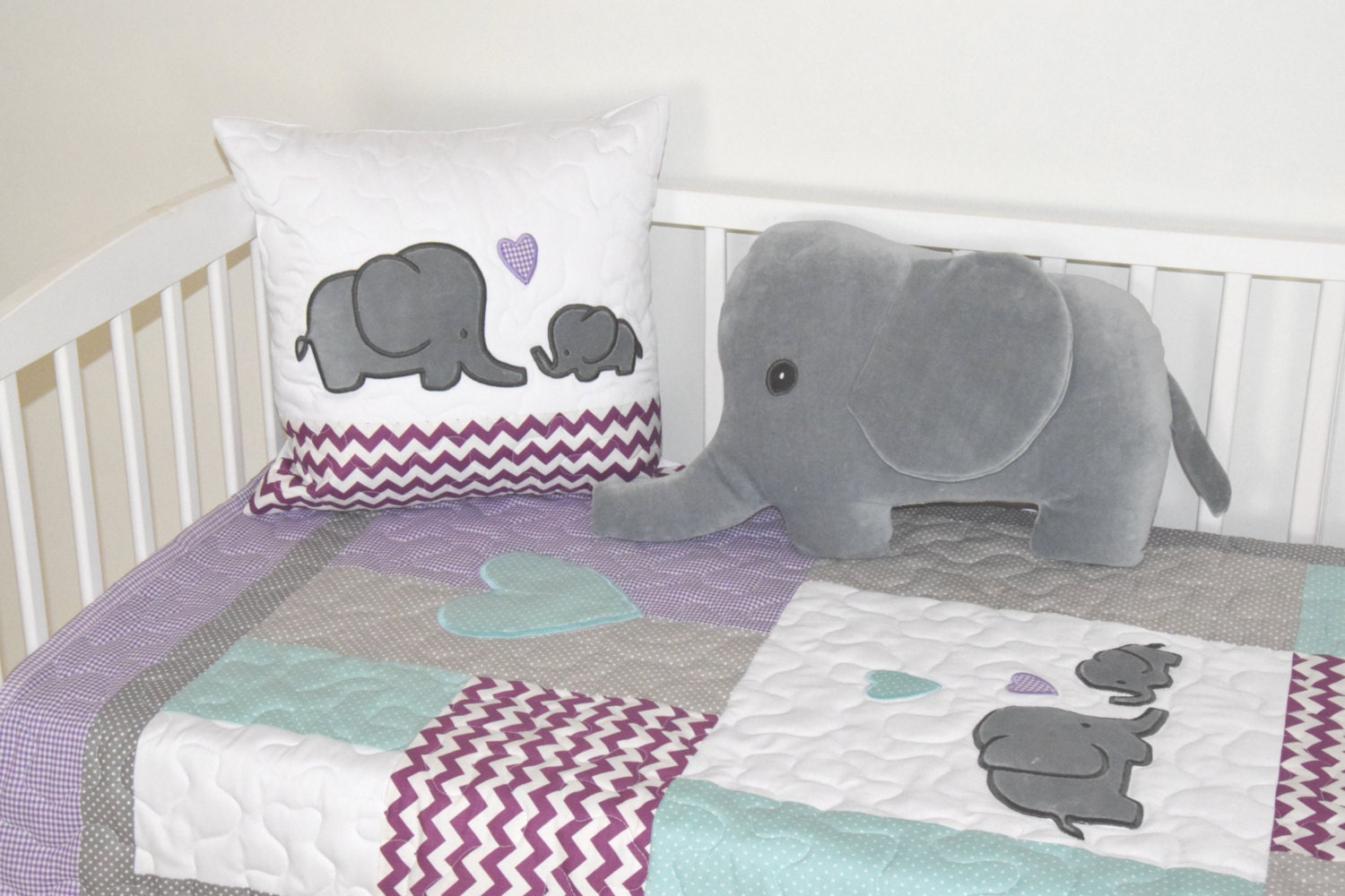 Elephant Baby Quilt Gray Purple Teal Crib Bedding Purple