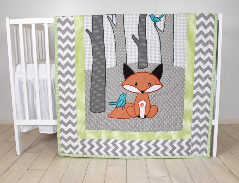 Woodland Blanket Birch Tree Crib Quilt Personalized Fox
