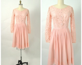 Vintage 1960s 60s Party Dress Pink Lace and Chiffon Cocktail Prom Mad Men