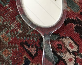 Vintage Lucite Two Sided Beveled Glass Hand Mirror