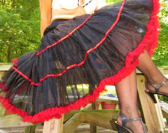 Hand made black lacy petticoat with red trim size large to extra large in new condition