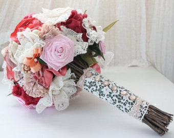 Handmade Silk, Satin, Lace and Fabric Flowers Bouquet with Vintage Charms Brooches, Beads and Pearls with Branch Handle 3343