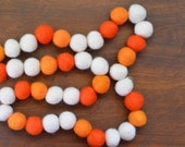 Felted Wool Ball Garland - Orange Sherbet in 8 to 8.5 feet (3 colors - dark orange, light orange, white) - 1 inch balls HANGERS INCLUDED!
