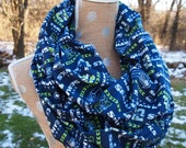 Seattle Seahawks Glitter NFL Football GameDay Infinity Scarf 10x70 Double Loop