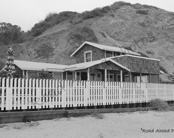 8 x 10 photograph, beach cottage Crystal Cove, black and white photography