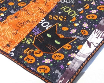 Halloween Cat Table Topper Midsize Embroidered Runner Pumpkins Spiders Graveyard