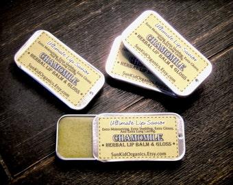 Chamomile Herbal Lip Balm Treatment - Essential Oil Lip Balm - Extra Moisturizing - Extra Sheilding - Glossy - Ultimate Lip Savior - 1/4 oz.