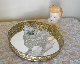 Vintage Round Shaped Ormolu Vanity Dresser Mirror - Gold toned Jewelry Perfume holder - Dre