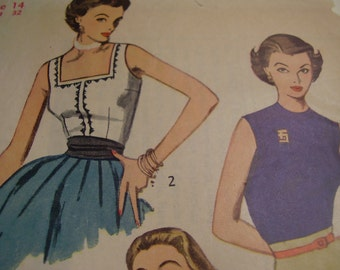 Vintage 1950's Simplicity 3891 Blouses Sewing Pattern, Size 14, Bust 32