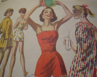 Vintage 1950's McCall's 3616 Bathing Suit and Beach Robe Sewing Pattern, Size 12 Bust 30