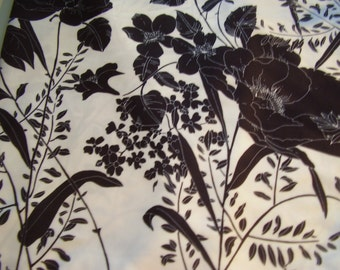 Vintage 1960's, 70's Graphic Black and White Floral Fabric, 3 yards