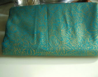 Vintage 1950's Deep Teal Green and Metallic Gold Tropical, Women, Leaves, Drums Cotton Fabric, 3 plus yards
