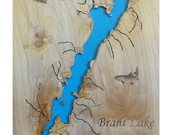 Wood Laser Cut Map of Brant Lake, NY Topographical Engraved Map