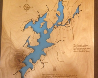 Wood Laser Cut Map of Lake Hopatcong, NJ Topographical Engraved Map